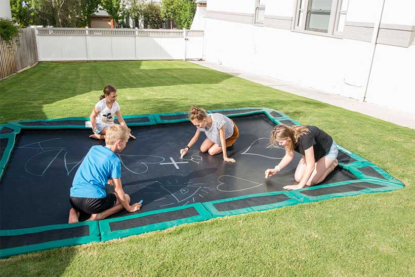in ground trampoline. Use Your In-ground Trampoline As A Blank Canvas In Ground