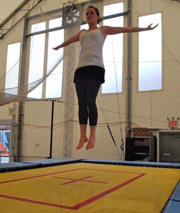 woman exercising on a trampoline