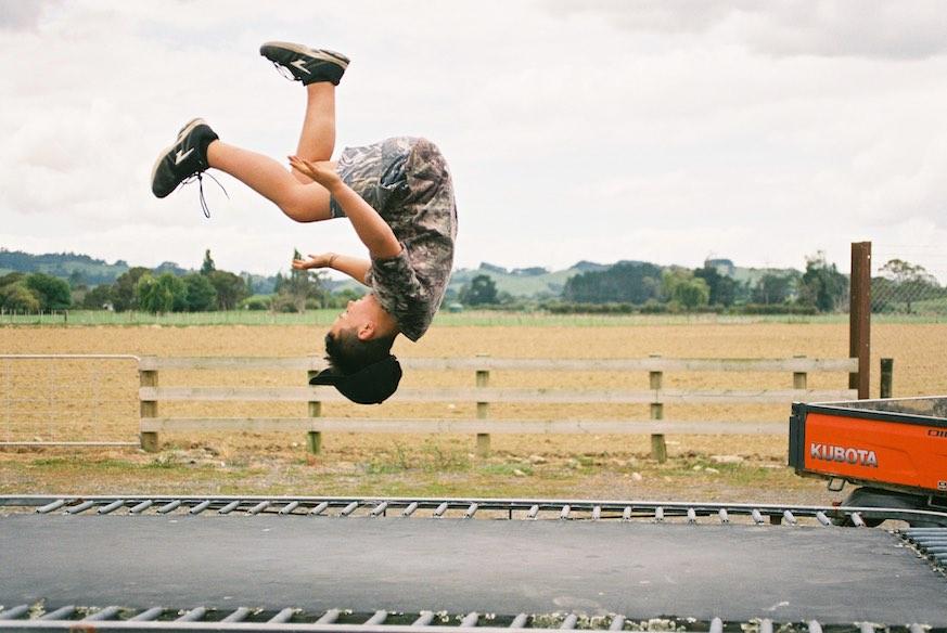 having fun on a trampoline